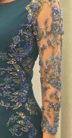 Love the detailing on the sleeves of this dress. Would be gorgeous on a figure skating dress. Evening Dresses, Prom Dresses, Formal Dresses, Moda Indiana, Indian Fashion, Womens Fashion, Kurti Designs Party Wear, Embroidery Fashion, Traditional Dresses