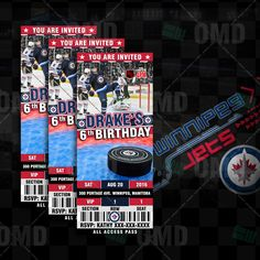 Winnipeg Jets Hockey Sports Party Invitations great for Sports Fans of all ages, Birthdays, Save-the-Date, Baby Shower or Wedding Invitations!