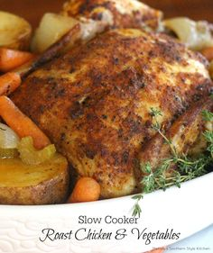 Enjoy roast chicken on a busy day with this moist and delicious Slow Cooker Roast Chicken And Vegetables. It's a slow cooker one dish meal.
