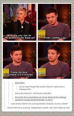 Jeremy Renner on make-up // funny pictures - funny photos - funny images - funny pics - funny quotes - #lol #humor #funnypictures