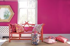 Bright pink walls - hot pink paint colors - Chinese decor - pink chinoise design inspiration