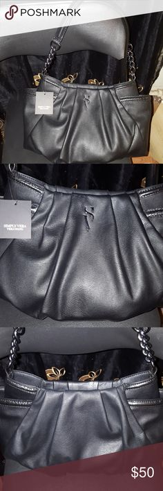 New Vera Wang shoulder purse New Simply Vera by Vera Wang contemporary Alicia Hobo shoulder bag. Has side pockets on each side. NWT. Vera Wang Bags Shoulder Bags