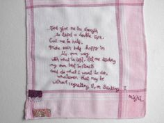 embroidered poem on old handkerchief, Prayer by Hugo Williams - One Bunting Away