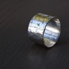 Wide Hammered Sterling Silver Ring Unisex by lofteddesigns on Etsy