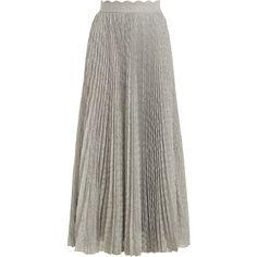 Missoni Pleated geometric-knit midi skirt ($1,880) ❤ liked on Polyvore featuring skirts, silver, retro skirts, silver metallic pleated skirt, retro midi skirt, pleated midi skirt and high waisted midi skirt