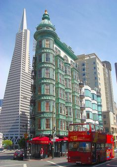 The green Columbus tower in San Francisco ~ headquarters for Francis Ford Copola's flim-making company Zoetrope.  Coppola bought the building in 1972, the year 'Godfather' was released.