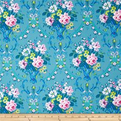 Jennifer Paganelli Caravella Arcade Daisy Blue from @fabricdotcom  Designed by Jennifer Paganelli for Free Spirit, this cotton print fabric is perfect for quilting, apparel and home decor accents. Colors include shades of pink, green, yellow, and blue.