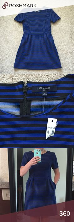 """NWT Madwell blue and black striped dress sz sm Adorable royal blue and black striped short sleeve dress ! Fabric is 67% polyester, 32% cotton and 1% spandex. Bust measures 17"""" and length is 35"""" Madewell Dresses"""