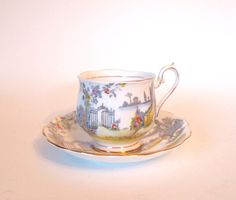 Vintage Teacup and Saucer Set Royal Albert Fine Bone China Tea Cup Hand Painted Rosedale Hampton Shape - England Circa 1930's