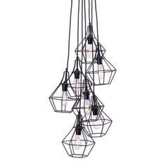 PRODUCT DESCRIPTION: Palmerston Ceiling lamp has 7 unique pendants clustered in a stagger pattern, hung by slim black cords. Each pendant has a frame work in a jeweled shape with distressed black fini