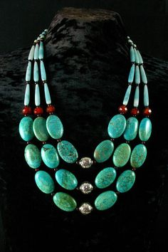 Turquoise Necklace Ethnic Jewelry Chunky by ByDivineCollectibles, $135.00