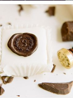 Chocolate Stamped Petit fours - very cute and simple idea.