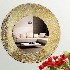 Interio Royal Golden Round Mosaic Mirror