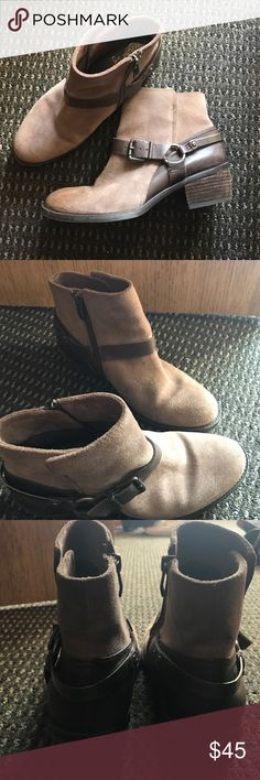 Vince Camuto brown / tan ankle booties In good conditions. Only worn a couple of times Vince Camuto Shoes Ankle Boots & Booties