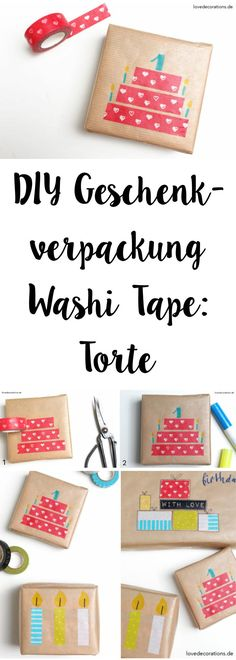 DIY Gift Wrapping with Washi Tape: Cake | DIY Geschenkverpackung mit Washi Tape: Torte Tolle DIY Geschenkidee zum Verschenken, als Mitbringsel, sogar an Weihnachten. Selbstgemachtes Geschenk.