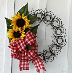 Bedspring Wreath with Sunflowers and Red and White Checked Burlap Bow