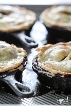 Mini Skillet Blueberry Pies | Inspired by Charm