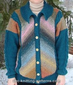 Dress to impress in the Men's Chevron Knit Cardigan. This handsome, multicolored knit cardigan pattern is the perfect addition to any man's wardrobe. Slimming lines and an elegant pattern combine to form a truly original knit cardigan. Mens Knit Sweater, Knitting Patterns Free, Knitting Ideas, Knit Cardigan Pattern, Cut Image, Men's Wardrobe, Dress To Impress, Chevron, Knit Crochet