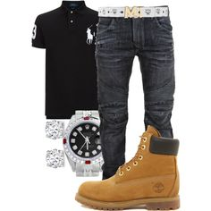 Rolex, Balmain, Timberland, MCM, men's fashion and menswear Dope Outfits For Guys, Swag Outfits Men, Stylish Mens Outfits, Casual Outfits, Men Casual, Fashion Mode, Tomboy Fashion, Work Fashion, Urban Fashion