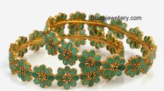 latest gold emerald bangles