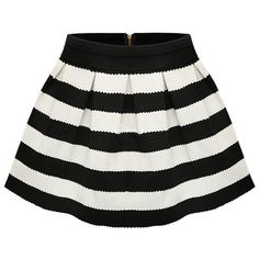 SheIn(sheinside) Black Apricot Stripe Flare Zip Skirt ($9.99) ❤ liked on Polyvore featuring skirts, sheinside, saia, stripe, black, flared hem skirt, striped short skirt, flare short skirt, striped flare skirt and black striped skirt
