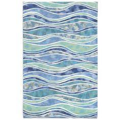 Liora Manne Visions Iii Wave Ocean Area Rug 42 Inches X 66 Inches White Rug, White Area Rug, Blue Area Rugs, Contemporary Area Rugs, Modern Rugs, Ocean Rug, Ocean Waves, Carpet Stains, Indoor Outdoor Area Rugs