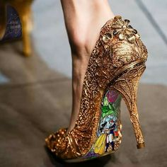 Extravagant Beauty and the Beast shoes. Baylee Jae would be freaking out if she saw these!! I might just dm them to her!!