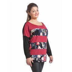 Μπλούζα ριγέ φλοράλ (5717) Plus Size Blouses, Floral, Sweaters, Fashion, Moda, Fashion Styles, Flowers, Sweater, Fashion Illustrations