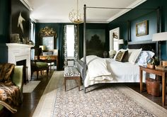 Forest Green Walls and Long Rug from Atlanta Homes Magazine
