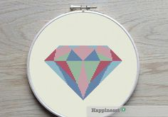 geometric modern cross stitch pattern diamond PDF by Happinesst