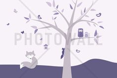 Animal Tree - Purple - Fototapeter & Tapeter - Photowall