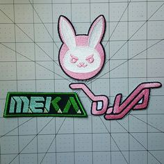 D.VA Ver 1 set Overwatch Inspired Embroidered Cosplay Costume D.Va Patch Set - Sew on or Iron On patches