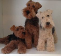 Needle felted Airedale, welsh terrier and Lakeland terrier
