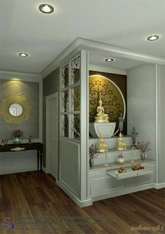Apartment city decor dreams 46 New ideas Pooja Room Design, Room Design, Pooja Rooms, Apartment Interior, Temple Design For Home, House Interior, Room Door Design, Meditation Room Decor, Pooja Room Door Design