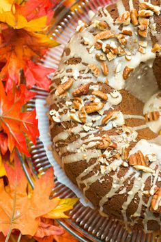 Autumn Bundt Cake -- Apples, Pumpkin, Pecans, Cranberries,& Spices