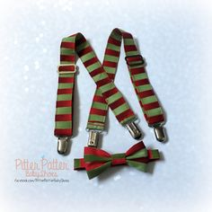 Red and Green Baby Suspender and Bow Tie Set - Baby's 1st Christmas  -Christmas Stripes- Holiday Suspenders - Holiday Bow Tie - Baby Boy by PitterPatterBabyShoe on Etsy