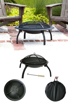 "Fire Sense's folding fire pit features a 29"" heat resistant painted steel fire bowl and folding legs for easy portability. This fire pit comes complete with heat resistant mesh fire screen, a wood grate and cooking grate. Also included is a carrying bag and screen lift tool."