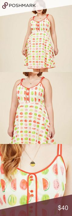 Waving from the waterfront dress Watermelon print novelty dress size 1x new without tags Modcloth Dresses