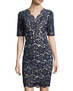 ELLEN TRACY VNECK LACE DRESS WITH ELBOW. #ellentracy #cloth #