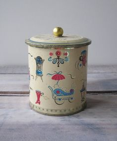 Kitchy Tin Canister by 22BayRoad on Etsy, $12.00