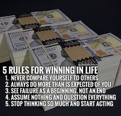 5 rules for winning in life! #Forex #Stocks #Traders #Binary #Trading #Money #Investing