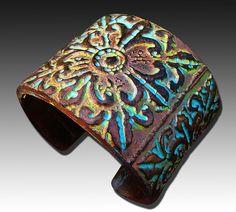 Medieval polymer clay cuff bracelet by adrianaallenllc on Etsy, $16.00