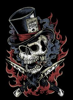 Switchblade by Derrick Castle Castle Illustration, Skull Illustration, Back Tattoos, Skull Tattoos, Crane, Badass Skulls, Totenkopf Tattoos, Motorcycle Tattoos, Skull Pictures