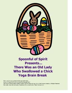 Incorporate a brain break into your ELA block, story time, or anywhere in the day where your students or children need to get their wiggles out. Perfect for indoor recess days! There Was an Old Lady Who Swallowed a Chick Yoga Brain Break is adapted from the  humorous, fun story by Lucille Colandro. * Use yoga brain breaks to manage classroom behavior* Provide physical movement while connecting it to learning * Increase comprehension, especially for kinesthetic learners.