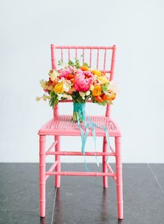 #Flower bouquet on a diamond #chair and painted #pink