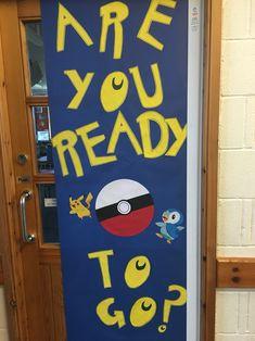 Pokemon Go themed door Pokemon Room, Pokemon Party, Pokemon Birthday, All Pokemon, Class Games, School Games, School Fun, Superhero Classroom Door, Classroom Themes