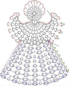 Tricô e Crochê - Knitting and Crochet: Enfeite de Natal em Crochet - Anjo Natalino Filet Crochet, Crochet Diagram, Crochet Chart, Thread Crochet, Crochet Motif, Crochet Flowers, Knit Crochet, Crochet Doilies, Crochet Fabric