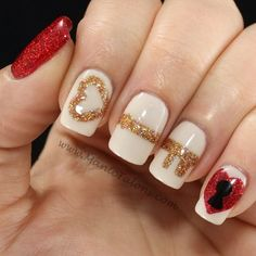 "Cute ""Key To My Heart"" nail art for Valentine's Day! #nailart #naildesign #manicure"