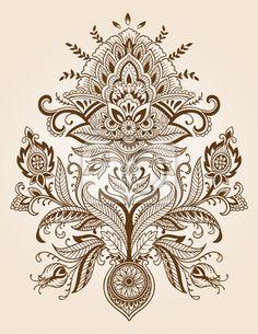 Wall mural - Henna Paisley Lace Flower Vector - fun Henna Tatoos, Paisley Tattoos, Mehndi Tattoo, Samoan Tattoo, Henna Tattoo Designs, Henna Mehndi, Henna Art, Maori Tattoos, Lotus Henna