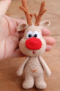 Pattern available to buy but im pinning for inspiration - use free bunny/monkey patterns on you tube and just add nose and antlers :) . . .